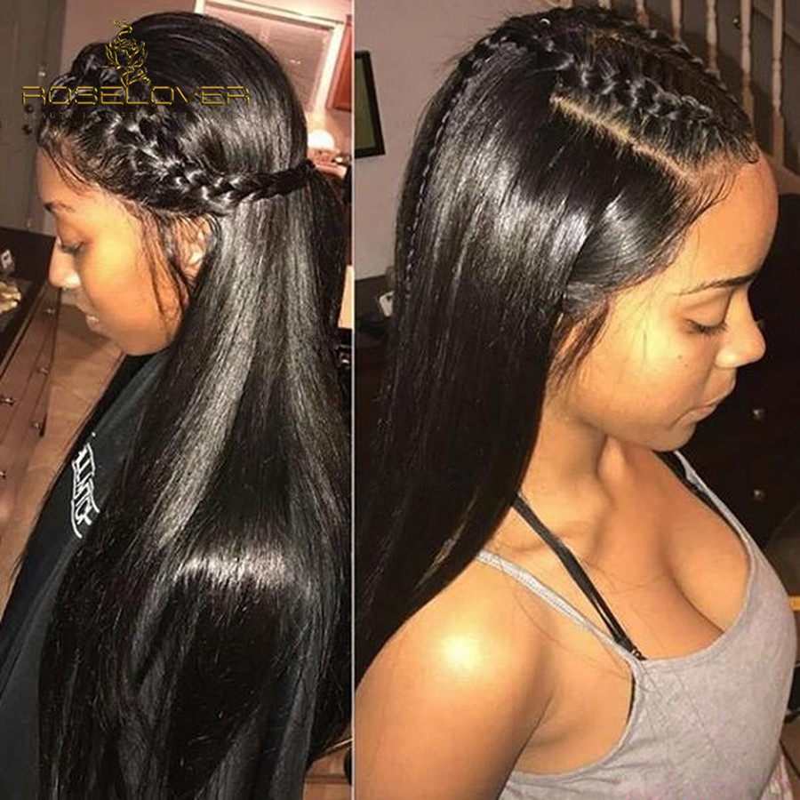 Deep Parting Lace Front Human Hair Wigs Natural Black Full Ends Pre Plucked With Baby Hair Peruvian Remy Hair Wigs For Women