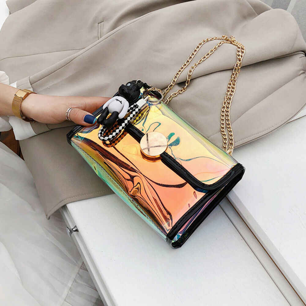 New Women Bag Mini PU Laser Clear Tote Chain Shoulder Bag Lovely Evening Handbag Jelly Crossbody Beach Bag Pouch