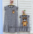 Girls 2017 summer parent-child fashion stripe cartoon bear mother  daughter Girls dress Loose show thin lovely big yards XH1502