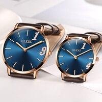 OLEVS Ultrathin Design Couple Watches For Lovers Leather Strap Waterproof Wristwatch Dial Quartz Business Men Women