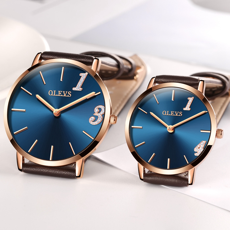 OLEVS Ultrathin Couple Watches For Lovers Leather Strap Waterproof Wristwatches Gold Dial Quartz Business Men Women Watch Gifts mini focus starry business women watch rhinestone sandy dial round case genuine leather strap quartz movement lady wristwatches