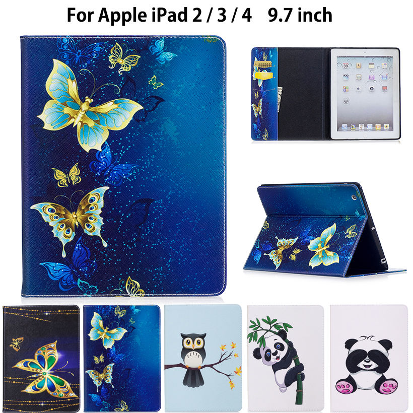 Fashion Panda Owl Pattern Case For Apple ipad 2 3 4 Smart Case Cover For iPad4 iPad 3 iPad2 Funda Tablet PU Leather Stand Shell kinston kst91869 butterfly w rhinestones pattern pu case w stand for iphone 6 white blue