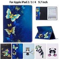 Moda Panda Sowa Wzór Case Dla Apple ipad 2 3 4 Inteligentny skrzynki Pokrywa Dla iPad 3 iPad2 iPad4 Funda Tablet PU Leather Stoisko Shell