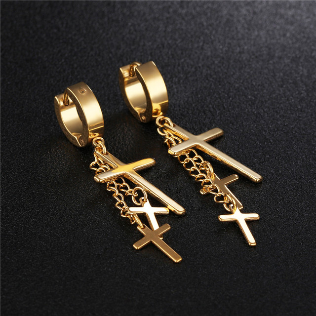 2f6dfe2116780 US $2.99 |2017 Trendy Earrings Black Steel Gold Cross Hoop Earrings for  Women Stainless Steel Hoop Earrings Men Punk Rock Hip Hop Jewelry-in Hoop  ...