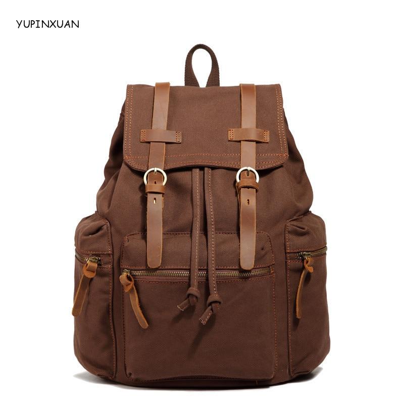 купить YUPINXUAN Fashion Women and Men Backpack Unisex Canvas Women's Backpacks Laptop Backpack Female Male Travel School Bag 2016 онлайн