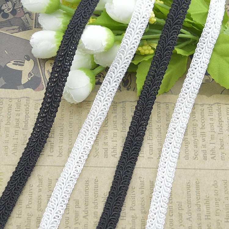100Metres Golden Silver Herringbone Lace Trim White Centipede Edge Black Lace Fabric 11mm Wide Sewing Accessories