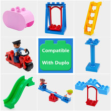 Diy Building Block Accessories Compatible With Duploed Figures Motor Seesaw Cylinder Slippery Ladder Swing Part Toys For Baby(China)