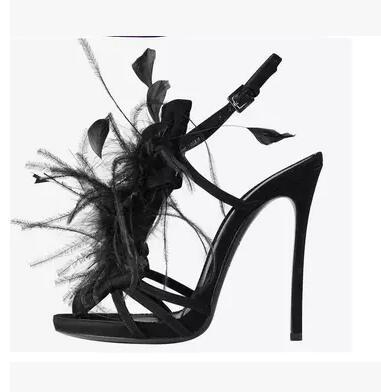 À Date Sangle Parti Hauts En Picture Couleur Picture Sandales D'été Évider Cheville As Plume Décoration Femmes as Mode Talons Chaussures Sexy Boucle Solide rq76cfarw