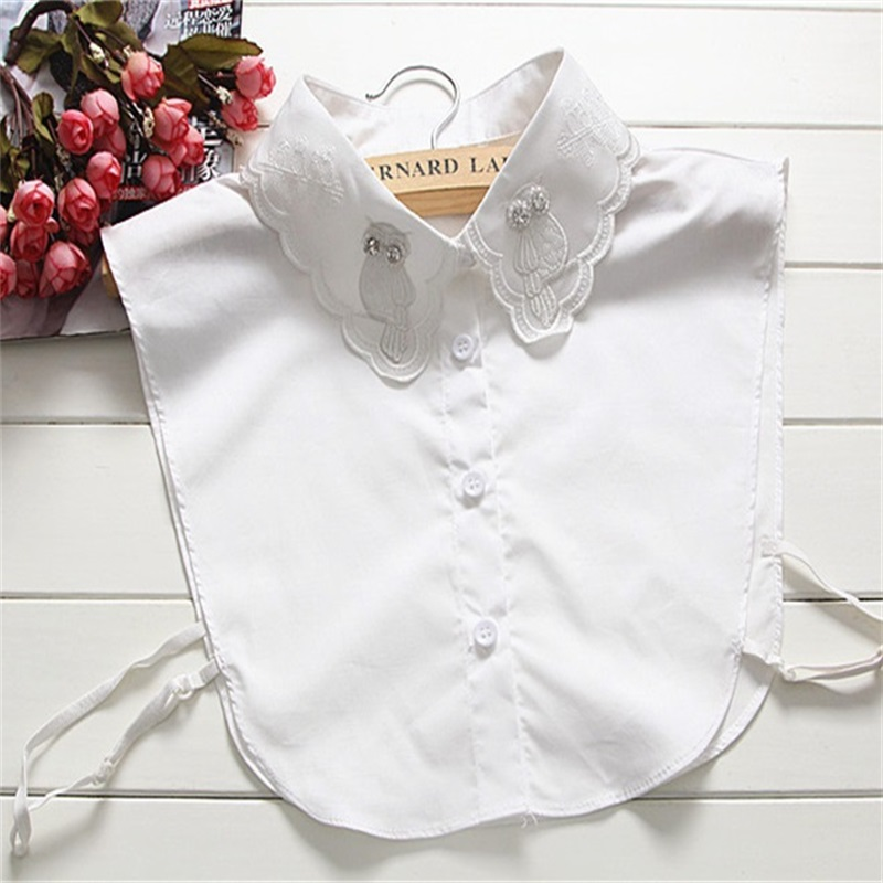 Women Detachable Shirt Fake Collar With Owl Embroid Lapel Blouse Top Tie False Collars Lady Clothes Accessories W172