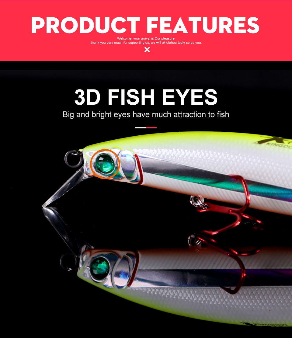 Kingdom Fishing lures 10g90mm 23.5g128mm Floating Minnow and Pencil Switchable Lilps artificial baits for sea bass wobblers 5358 (6)