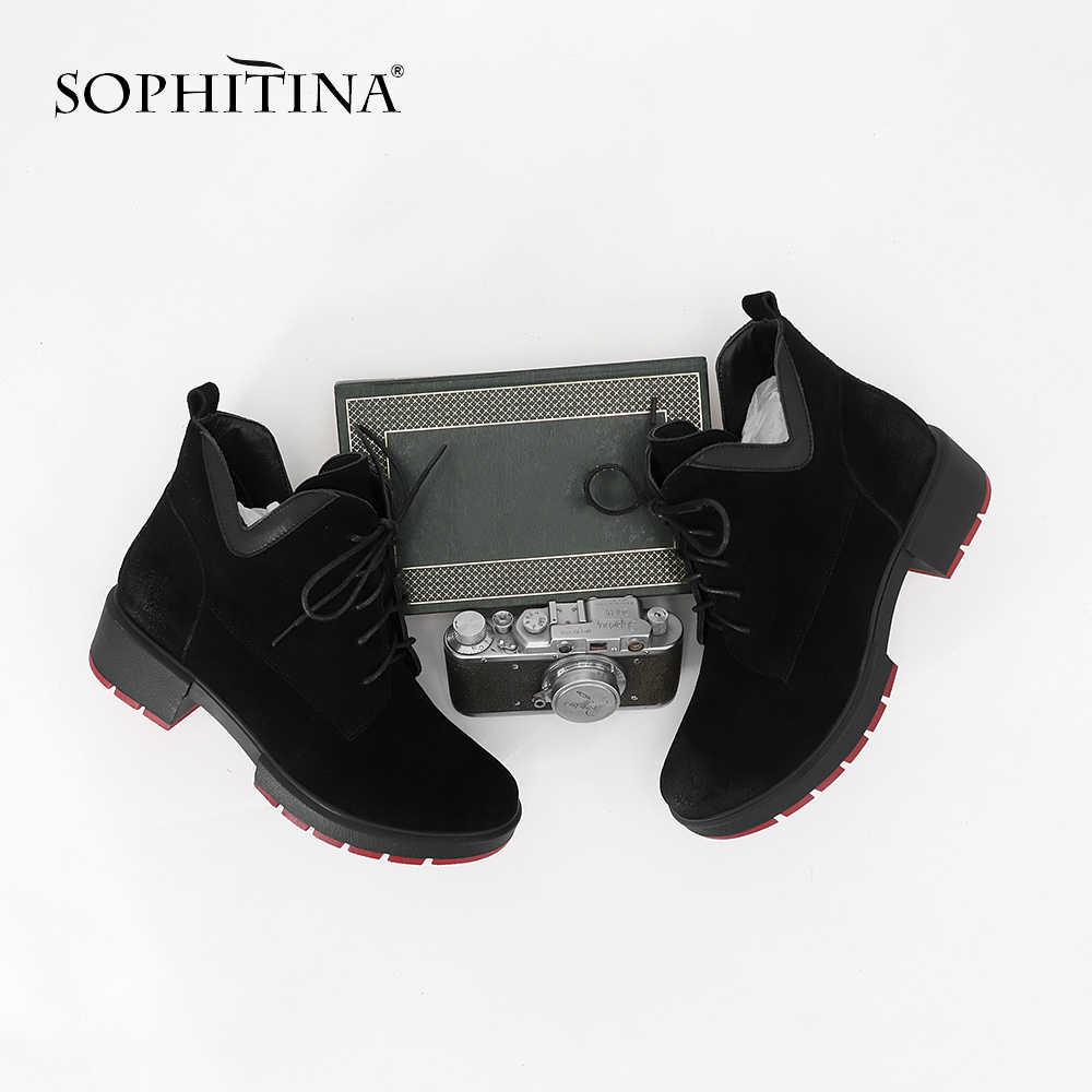 SOPHITINA yeni varış inek deri kışlık botlar kullanışlı dantel-up yarım çizmeler klasik kaymaz rahat kırmızı taban ayakkabı MC88