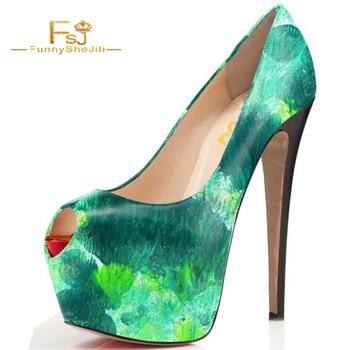 shoes women printing ladies pumps FSJ Green Peep Toe Heels Platform Chunky Heel Pumps All Size Avaliable big size chunky heels