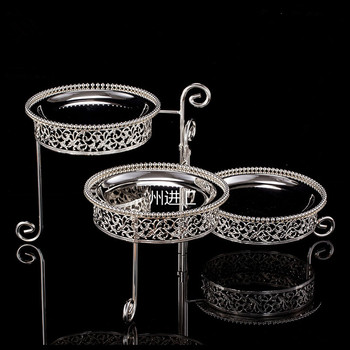 Small No.creative three-layer rotating afternoon tea snack rack West point plate baking dessert cake stand