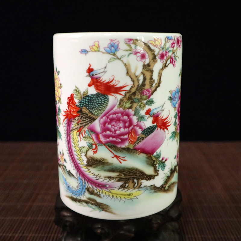 Stylo porte-stylo/Pot brosse | Classique chinois exquis, collection classique, phénix colorées et fleurs, en porcelaine