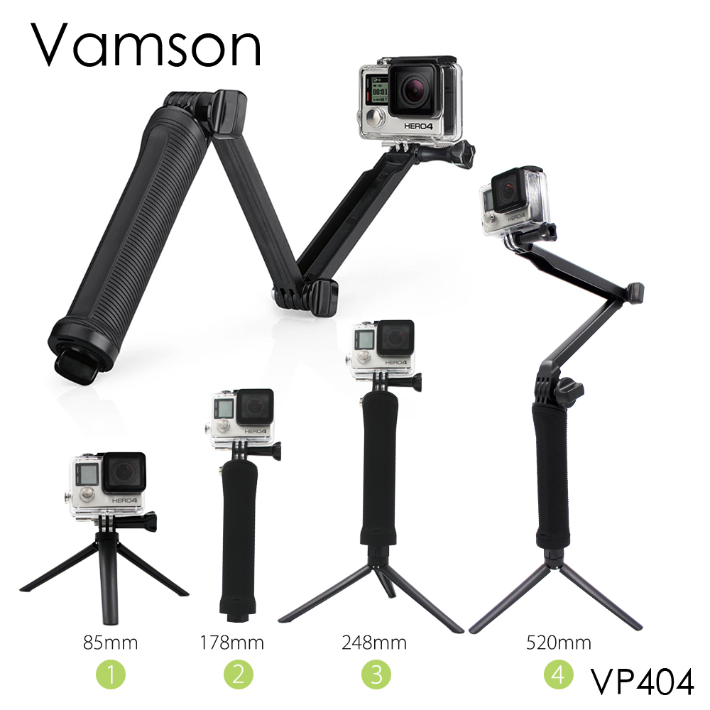 Vamson for Gopro Accessories Tripod 3 Way Monopod Mount Extension Arm Tripod for Gopro Hero 6 5 4 3+ for xiaomi yi SJ4000 VP404 ri 008 activity connection chain accessories for gopro hero 4 3 3