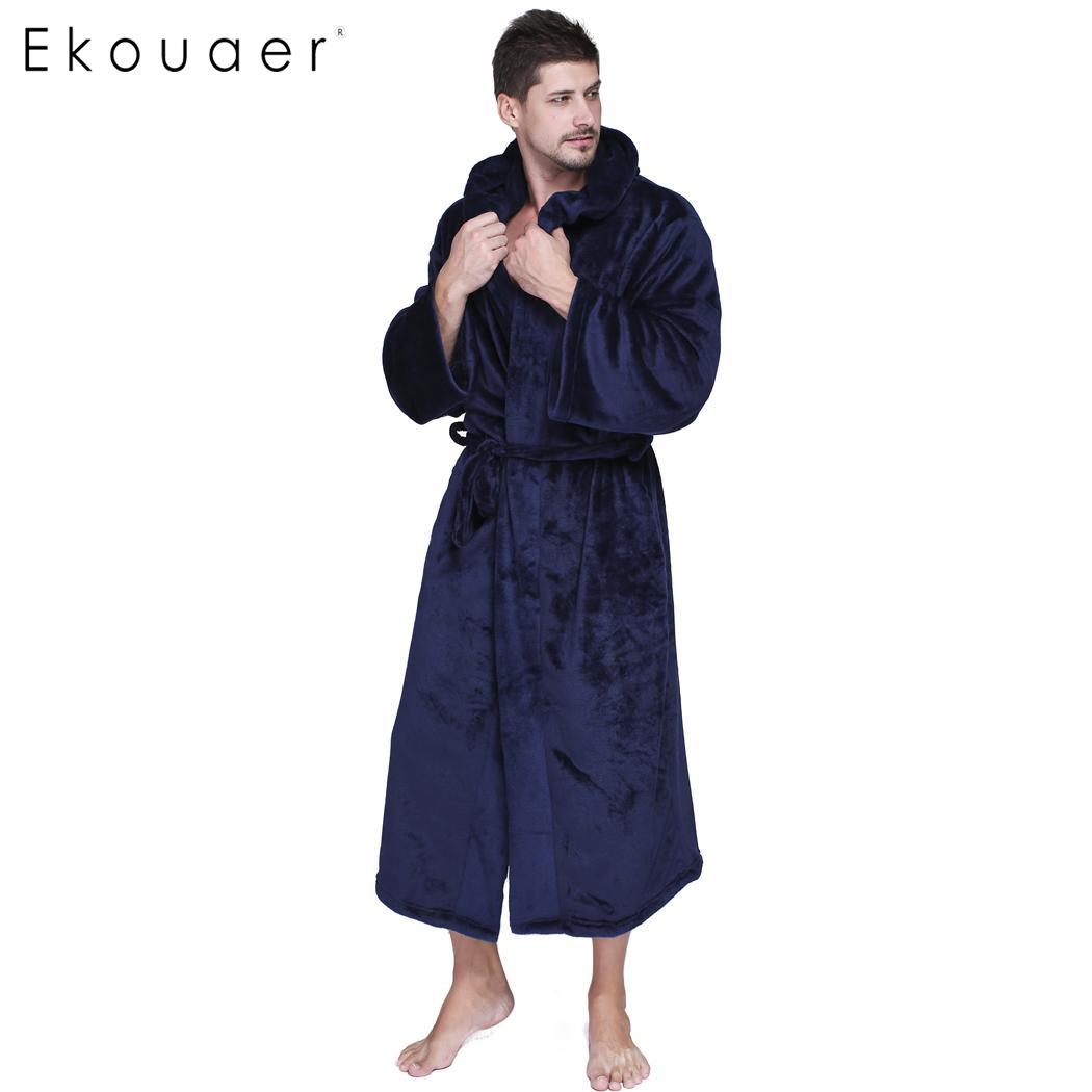 Ekouaer Men Long Hooded Robes Warm Winter Bathrobes Long Sleeve Soft Plush Bathrobe Gentlemen's Homewear Lounges Sleep Robe