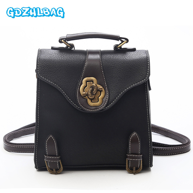 13272aab44 Vintage Women Small Backpacks PU Leather Mini Backpack For Teenage Girls Sac  A Dos Femme Female Knapsack Bag 2018 New B299
