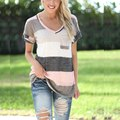 Plus Size Women Sexy V Neck Short Sleeve Casual Loose T Shirt Baggy Tops Striped Pattern