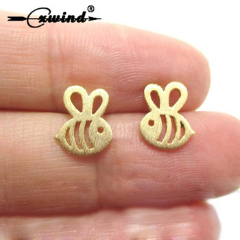 Cxwind Fashion ADORABLE BUMBLE BEE INSECT SHAPED STUD EARRINGS ANIMAL JEWELRY Cute Small Bee Stud Earrings Gift image