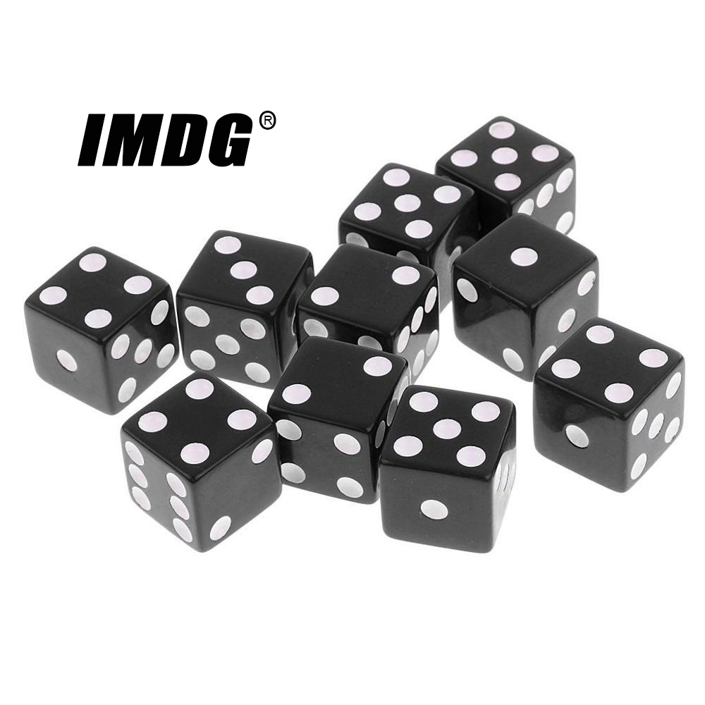 10pcs/pack Black New Acrylic Dice 16mm White Dot Square Corners High Quality Boutique Game Dice