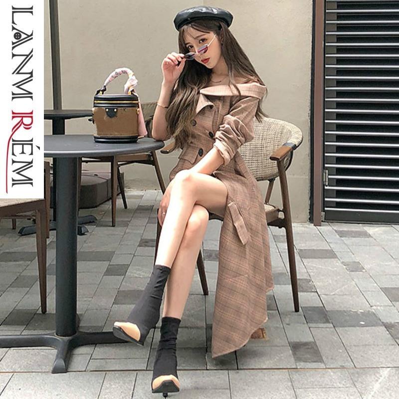 LANMREM 2019 nouvelles bretelles été mode femmes vêtements col rabattu demi manches plaidé asymétrique veste courte WG37004L