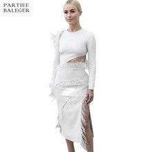 Новое поступление шикарное белое платье дизайн перо с длинными рукавами Сексуальное Сплит Клубная одежда Платье знаменитостей Бандажное платье-миди