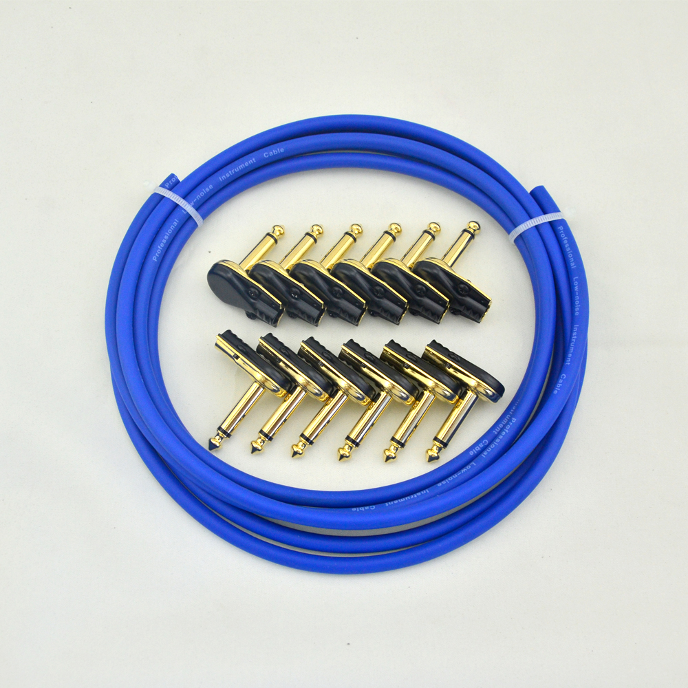 DIY guitar  Pedalboard Effects Bulk patch  Cable kit  10ft 12  Mono  Plugs For Effect Pedal  in Blue right angle 1 4 mono guitar effect pedal board cable patch cord 25cm
