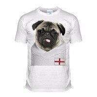 Summer Style Fashion Men Casual Tees Shirts England Footballer Pug English Dog Puppy Pugs Custom Design