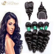 Unprocessed 8A Malaysian Loose Wave 4 Bundles With Closure Malaysian Virgin Hair Lace Closure With Cheap Human Hair Weaves