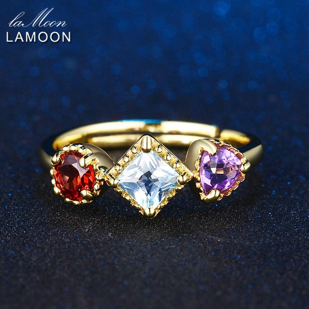 LAMOON- Piramida 3 copë 4 mm 1-purpurtë Ametist i kuq Garnet i Kuqe - Bizhuteri të bukura - Foto 3