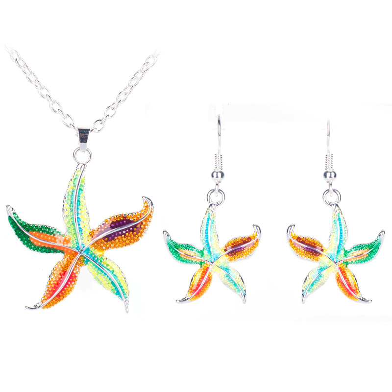 2016 Summer Enamel Starfish Jewelry Sets For Women Animal Starfish Necklace Earring Set Unique Ethnic Sea Jewelry