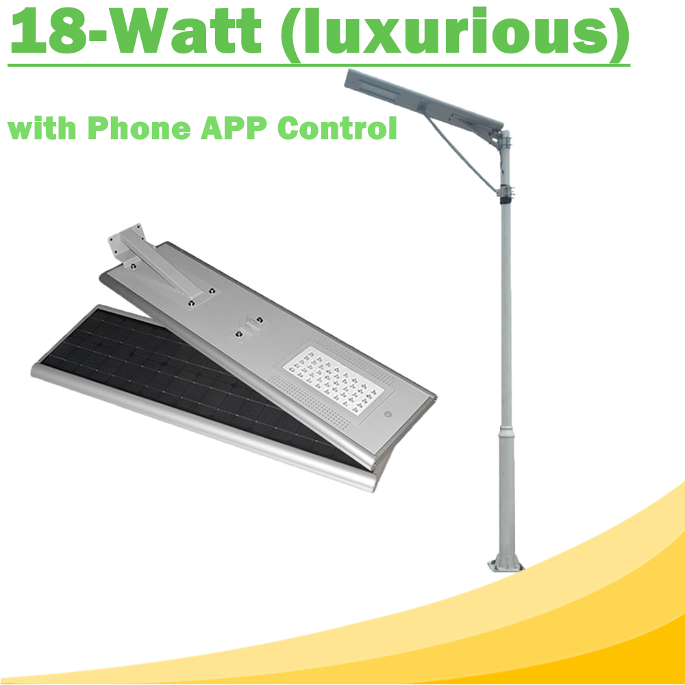 18W All In One LED Solar Street Lights Waterproof Outdoor Easy Installation12V LED Lamp with Phone APP Control Luxurious Y-SOLAR