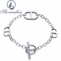 Slovecabin Original 925 Sterling Silver Lock Chain H Bracelet Bangle Femme Vintage Silver 925 Fashion Silver Bracelets For Women