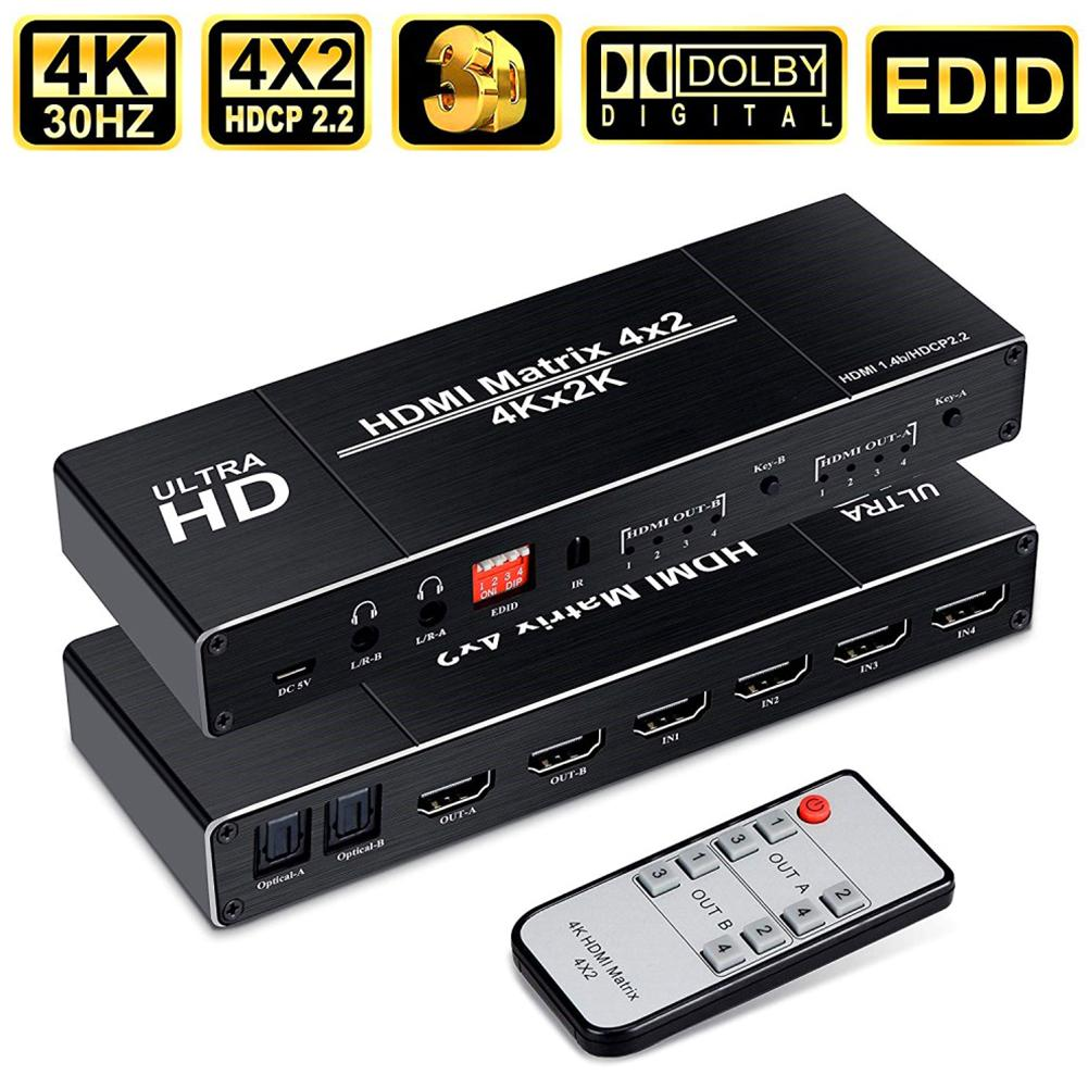 4K HDMI EDID Matrix 4 In 2 Out 4X2 Dual Audio Output Fiber HDMI Switch Distributor Switcher