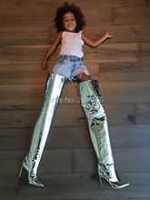 Kim Kardashian Fetish Runway Shoes Stiletto High Heels Thigh High Botas Gold Silver Metallic Mirror Leather Over The Knee Boots