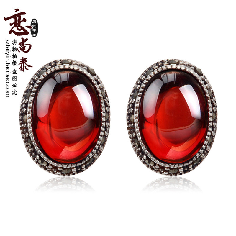 famous brand 925 Sterling silver red Natural semi-precious stones Garnet stud Earrings Women jewelry girlfriend birthday gift