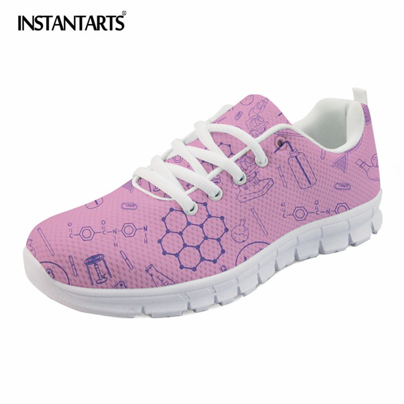 INSTANTARTS 3D Science Teacher Pattern Women Sneakers Casual Breathable Mesh Flat Shoes for Girl Ladies Lightweight Walking Shoe