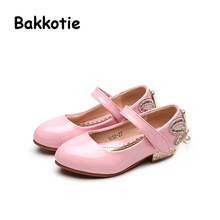Bakkotie 2017 New Fashion Spring Mary Jane Baby Princess Child Casual PU Leather Shoe Kid Brand Toddler Leisure Pink Rhinestone