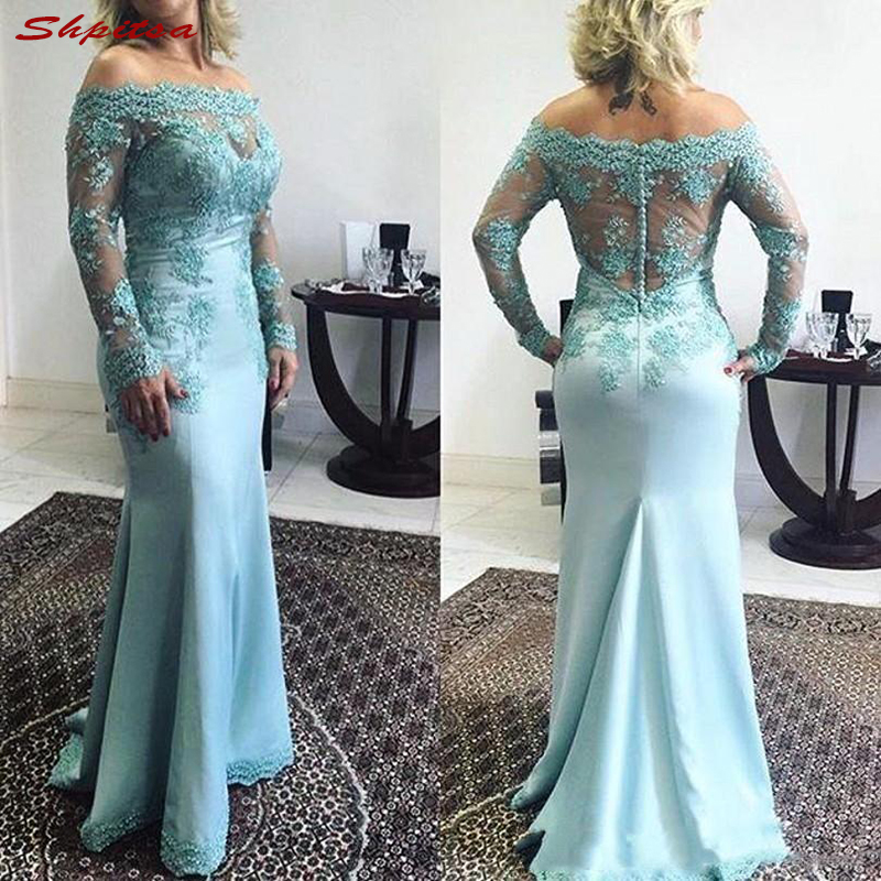Mint Long Sleeve Mother of the Bride Dresses for Weddings Lace Off Shoulder Prom Evening Groom