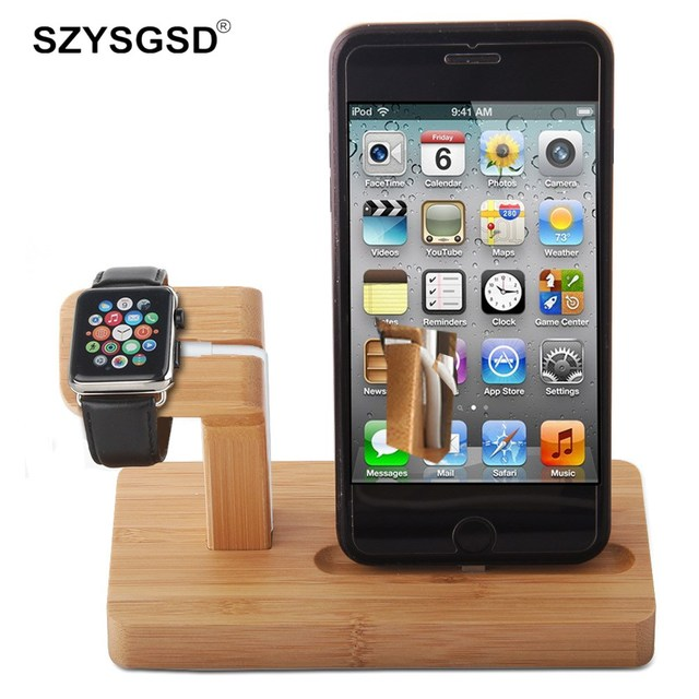 on sale 12930 ca17b US $15.88 |Wooden Charger For Apple Watch For iPhone 8 6 6S 7 Plus 2 In 1  Docking Station Charger Wireless Charging Desktop Stand Holder-in Mobile ...