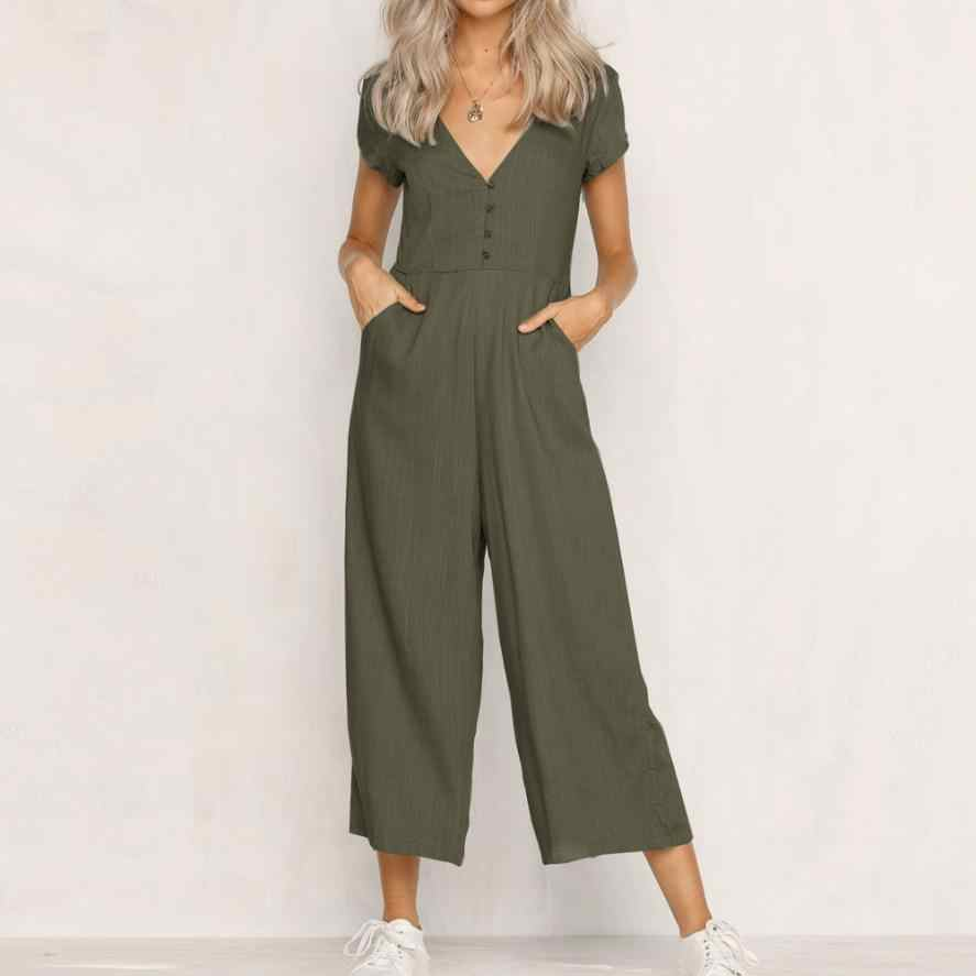 bfbfc32bc4e 2018 summer womens romper V-Neck Short Sleeve Strappy Holiday Long Playsuits  Trouser Jumpsuit mamelucos