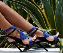 Summer Newest Arrival Blue Black Snakeskin Patchwork High Heel Sandal Slingback Lace Up Cut-Out Open Toe Sandals black patchwork plain toe lace up derbies