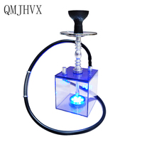 Acrylic Hookah Cup Set With LED Light Shisha Pipe Hose Stainless Steel Bowl Charcoal Holder Portable Shisha Set Chicha Narguile