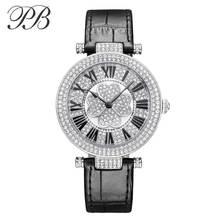 PB Brand Watch Women Luxury Austria crystal fashion Ladies Wristwatch Genuine Leather Water Proof Wamen Watch HL606