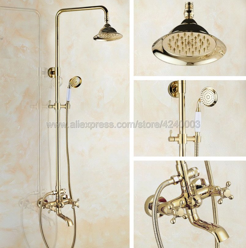 Golden Finish Wall Mounted Shower Faucet Bathroom Rainfall Shower System Set Faucet Tub With Handheld Sprayer Kgf397
