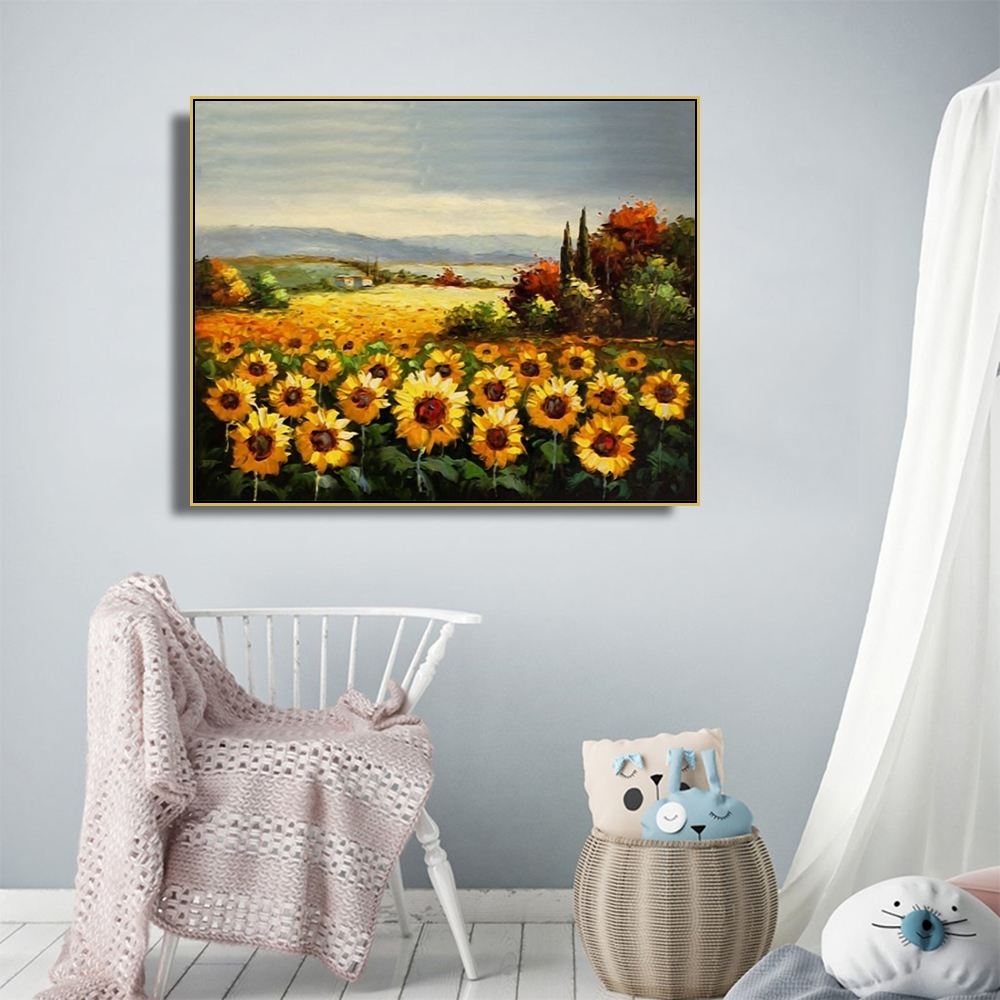 Laeacco Canvas Calligraphy Painting Classic Sunflower Posters And Prints Garden Wall Artwork Pictures For Living Room Home Decor