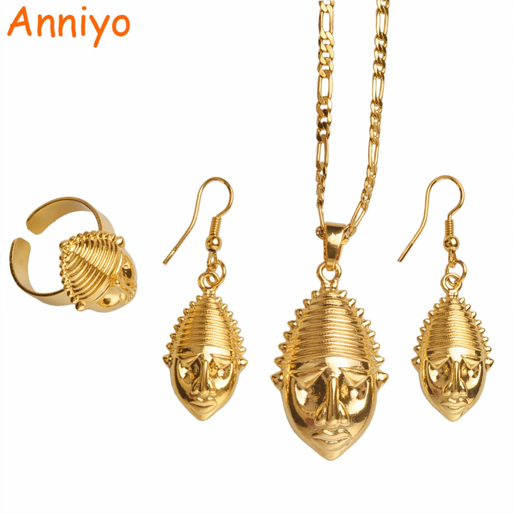 Anniyo PNG Mask Pendant/Necklaces/Ring/Earrings for Women,Papua New Guinea Gold Color Jewelry Ethnic Design Gifts #098206