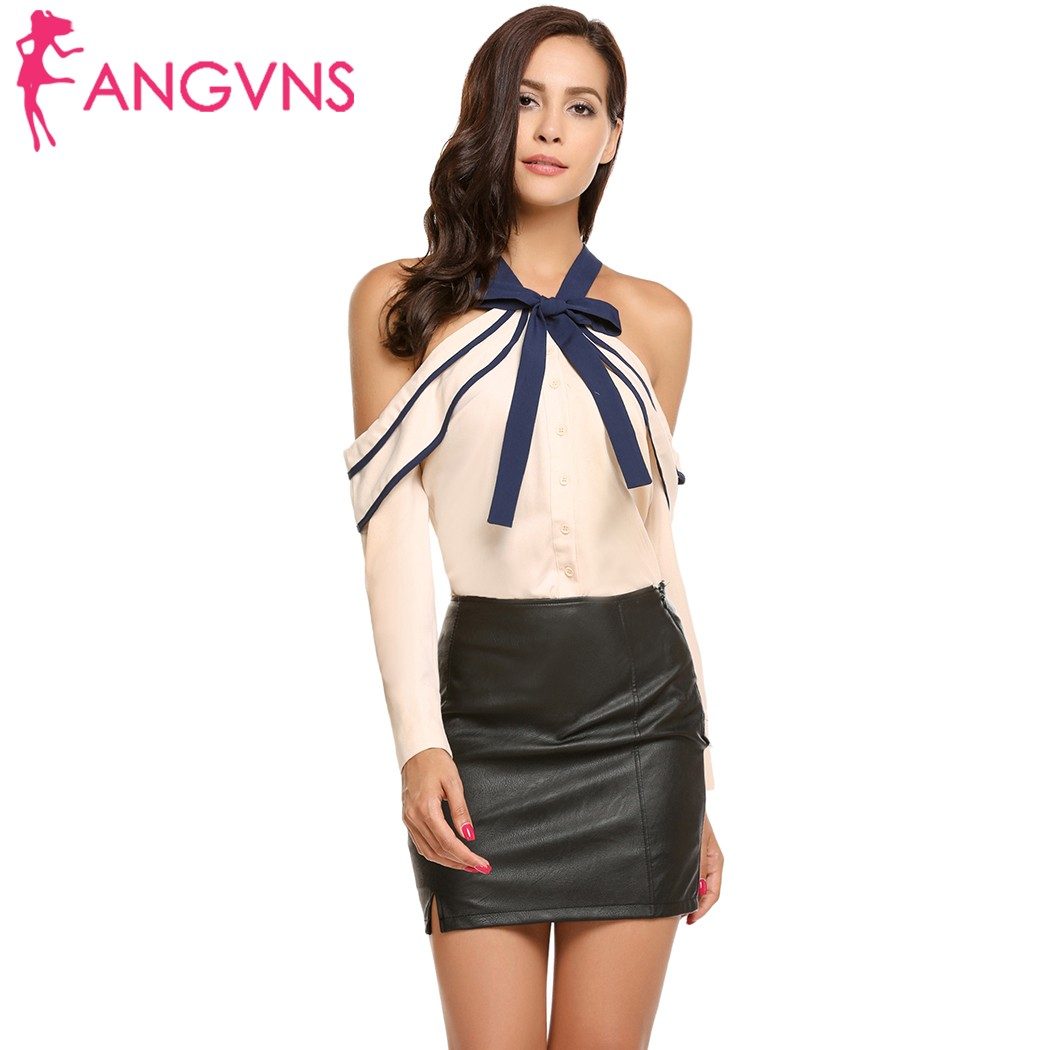 ANGVNS Women Halter Chiffon Blouse Off the Shoulder Long Sleeve Bow Tie Ruffle Collar Sexy Party 2018 Autumn Chiffon femme Tops