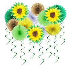 12pc Summer Party Decorations Sunflower Pom Poms Hanging Swirls Paper Fans Tropical Hawaiian Luau Sunshine Birthday Shower 12pc summer party decorations sunflower pom poms hanging swirls paper fans tropical hawaiian luau sunshine birthday shower