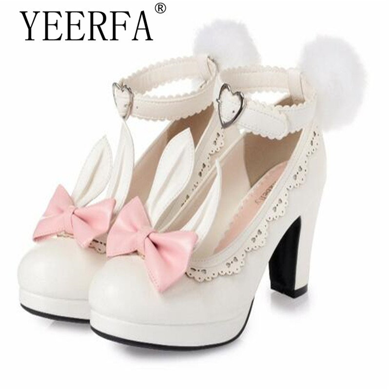 Sweet Princess Party Shoes Solid Leather Women Pumps Cosplay Rabbit Thick Heels Buckle Straps Round Toe Platform Lolita Shoes super lovely white rabbit ears lolita princess platform heels shoes comfortable round toe cos shoes